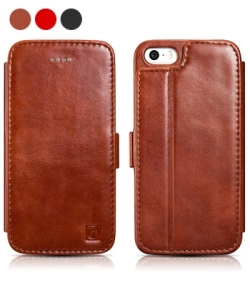 iCarer Vintage Genuine Leather Wallet Case for iPhone SE