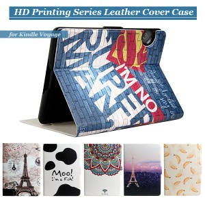 Cartoon Pattern Leather Cover for Kindle Voyage